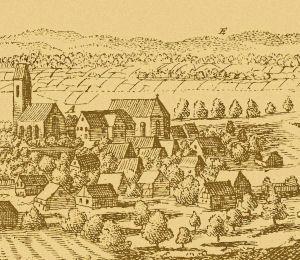 Ort Heitersheim, Pfarrkirche und Kloster, um 1643.