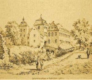 Schloss Heitersheim, Ansicht von Südwesten, 1876.