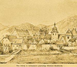 Schlossanlage mit hohem Fruchtspeicher, um 1820.