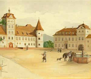Vorburg, Ritterhaus und Kanzleigebäude, um 1780.