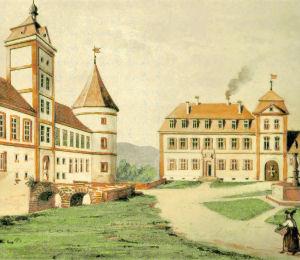 Vorburg, Ritterhaus und Kanzleigebäude, um 1800.