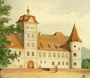 Ritterhaus mit Zugbrücke und Rundturm, um 1780.