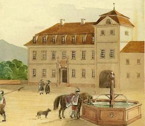 Vorburg, Kanzleigebäude mit Brunnen, um 1780.
