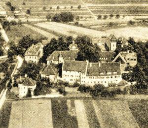 Schloss, Ansicht von Osten. Luftaufnahme, 1930.
