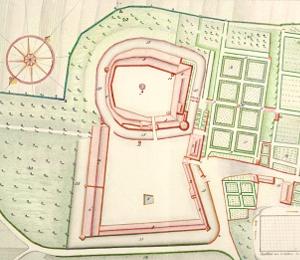 Schloss Heitersheim mit dem großen Barockgarten, 1773.