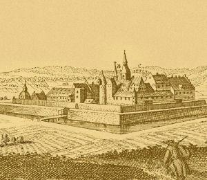 Schloss Heitersheim, idealisierte Darstellung, 1643.