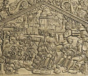 Ofenplatte, reich bebilderte Darstellung, 16. Jh.